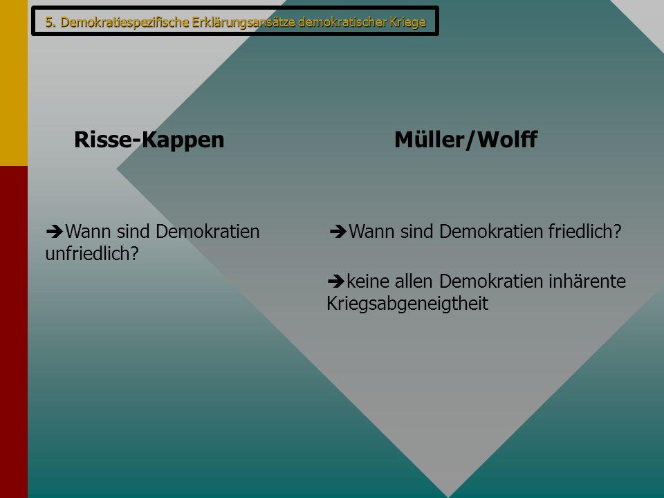 Risse-KappenMüller/Wolff  Wann sind Demokratien unfriedlich?  Wann sind Demokratien friedlich?  keine allen Demokratien inhärente Kriegsabgeneigthe
