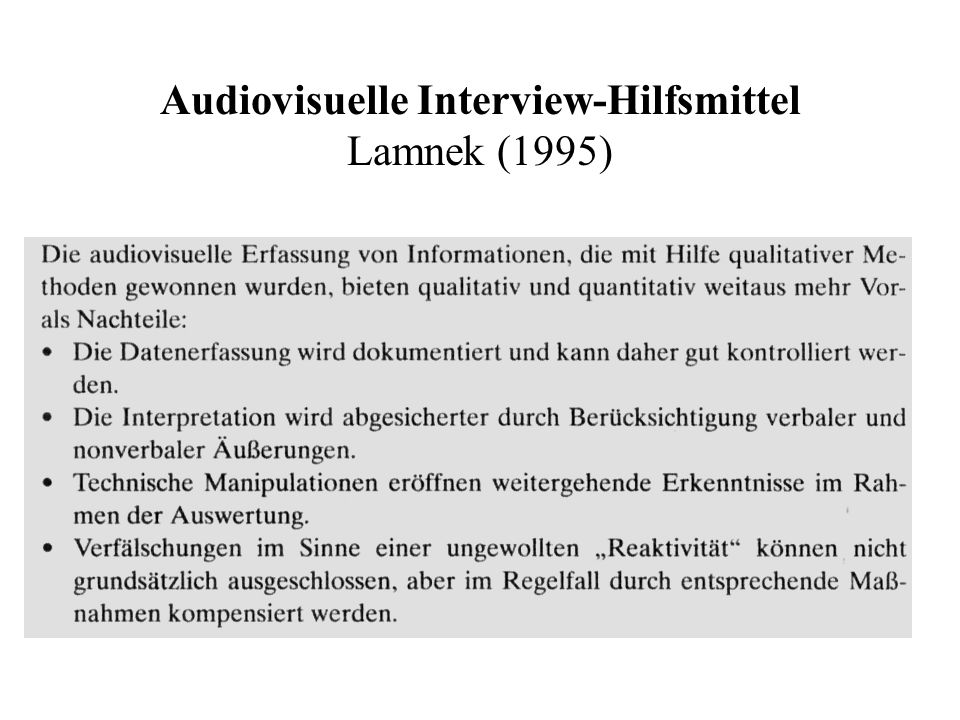 Audiovisuelle Interview-Hilfsmittel Lamnek (1995)