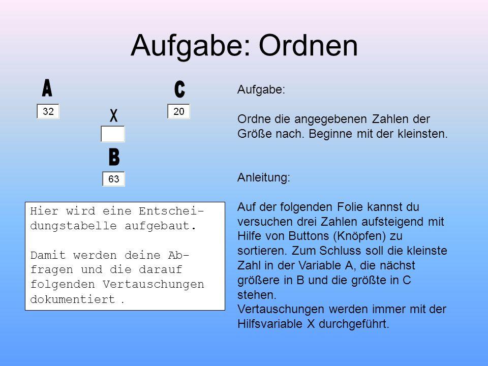 VERTAUSCHUNGEN: Vertausche die Zahl im Behälter A mit der Zahl im Behälter B Vertausche die Zahl im Behälter B mit der Zahl im Behälter C Vertausche die Zahl im Behälter A mit der Zahl im Behälter C Übung: Ordnen 1 ABFRAGEN: Ist A größer als B.