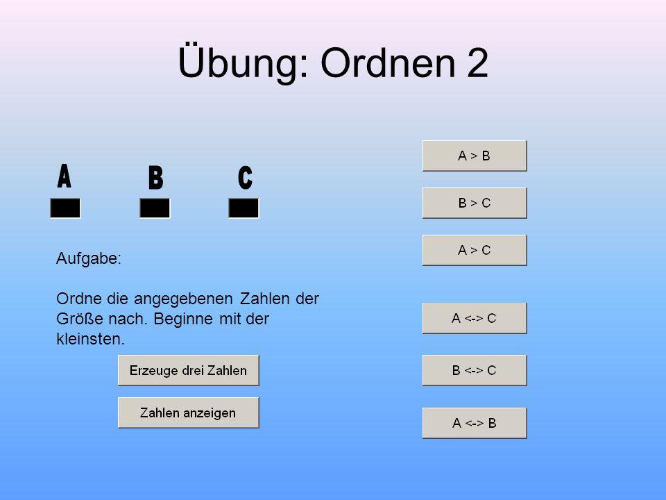 Übung: Ordnen 2 Aufgabe: Ordne die angegebenen Zahlen der Größe nach. Beginne mit der kleinsten.