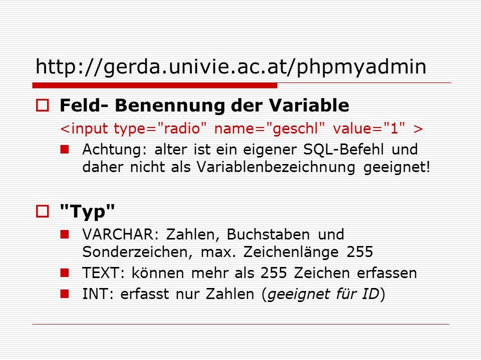 http://gerda.univie.ac.at/phpmyadmin  Feld- Benennung der Variable Achtung: alter ist ein eigener SQL-Befehl und daher nicht als Variablenbezeichnung geeignet.