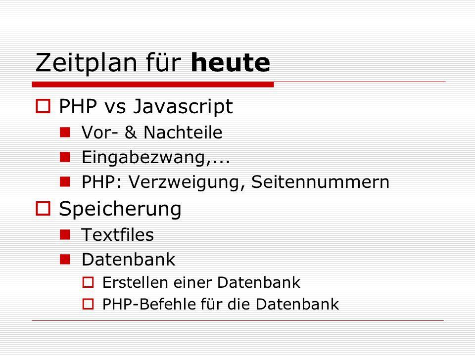 Zeitplan für heute  PHP vs Javascript Vor- & Nachteile Eingabezwang,...