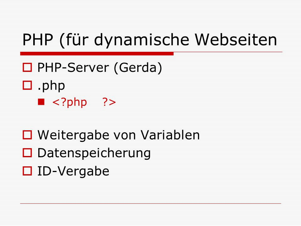 PHP-Befehl <?php $db = mysql_connect( localhost , user , passwort ) or die ( Konnte keine Verbindung zur Datenbank herstellen bitte informieren Sie mich!!!! ); mysql_select_db( Tabellenname ,$db); &$sSql = UPDATE Tabellenname set spaltenname= $variablenname WHERE nid=$nid ; $result = mysql_query($sSql);...führt den Befehl durch $db_close = mysql_close($db); ?>