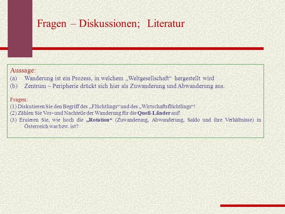 """Fragen – Diskussionen; Literatur Aussage: (a)Wanderung ist ein Prozess, in welchem """"Weltgesellschaft"""" hergestellt wird (b)Zentrum – Peripherie drückt"""