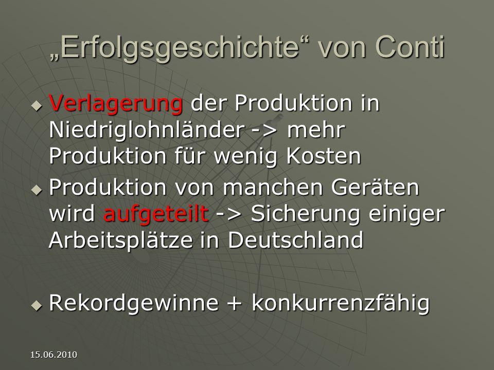 """15.06.2010 """"Erfolgsgeschichte von Conti  Verlagerung der Produktion in Niedriglohnländer -> mehr Produktion für wenig Kosten  Produktion von manchen Geräten wird aufgeteilt -> Sicherung einiger Arbeitsplätze in Deutschland  Rekordgewinne + konkurrenzfähig"""