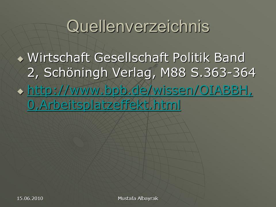 15.06.2010 Mustafa Albayrak Quellenverzeichnis  Wirtschaft Gesellschaft Politik Band 2, Schöningh Verlag, M88 S.363-364  http://www.bpb.de/wissen/OIABBH, 0,Arbeitsplatzeffekt.html http://www.bpb.de/wissen/OIABBH, 0,Arbeitsplatzeffekt.html http://www.bpb.de/wissen/OIABBH, 0,Arbeitsplatzeffekt.html