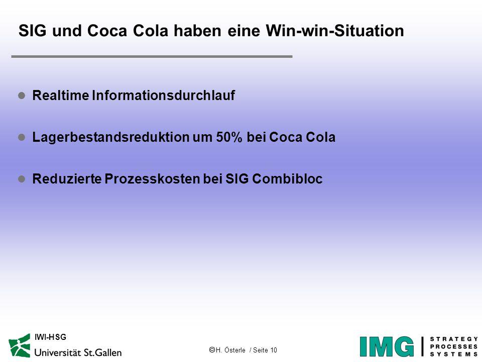  H. Österle / Seite 10 IWI-HSG SIG und Coca Cola haben eine Win-win-Situation l Realtime Informationsdurchlauf l Lagerbestandsreduktion um 50% bei Co