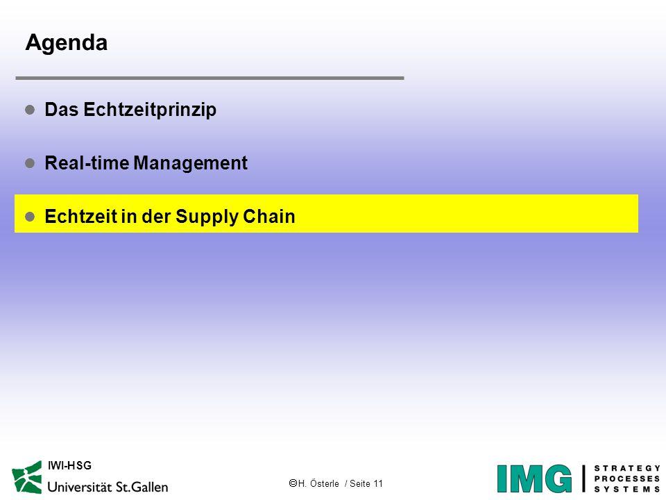  H. Österle / Seite 11 IWI-HSG Agenda l Das Echtzeitprinzip l Real-time Management l Echtzeit in der Supply Chain