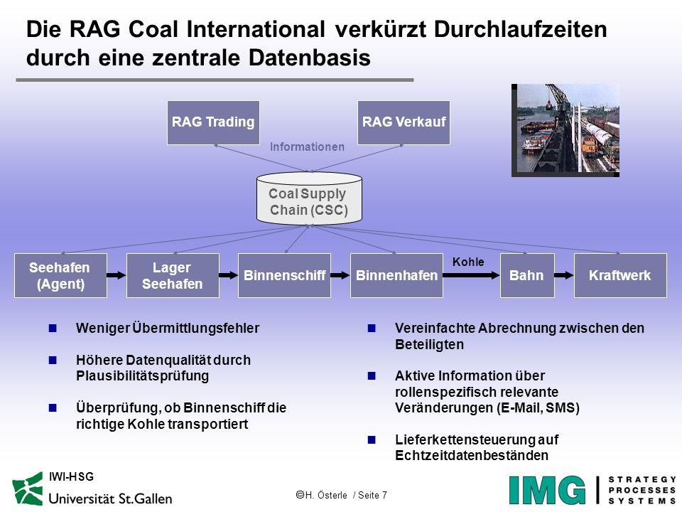  H. Österle / Seite 7 IWI-HSG Die RAG Coal International verkürzt Durchlaufzeiten durch eine zentrale Datenbasis RAG Trading Seehafen (Agent) BahnBin
