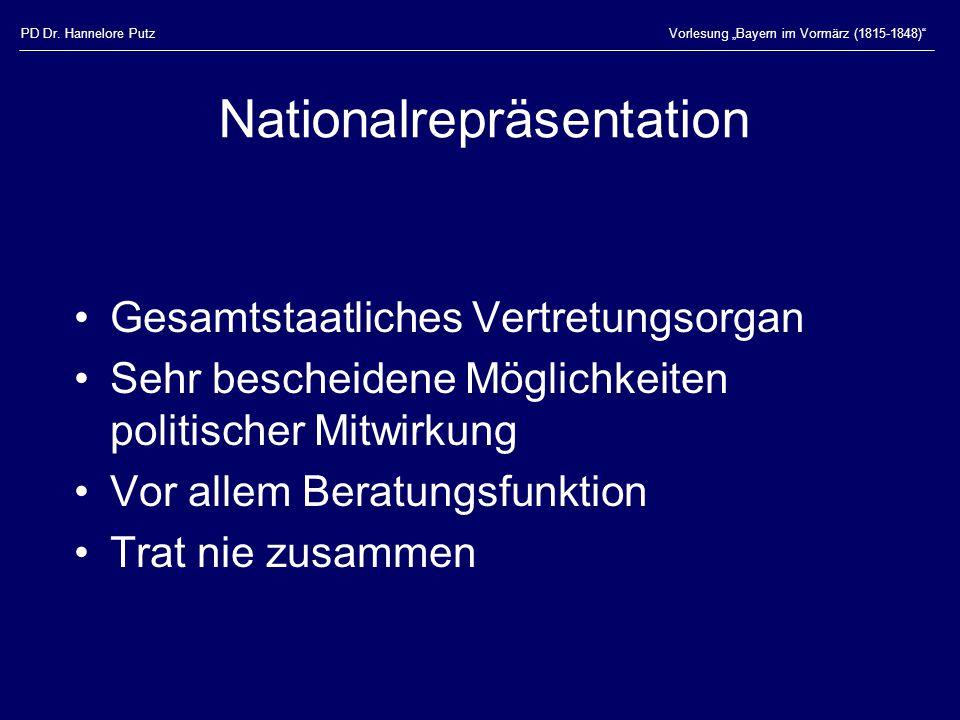 """PD Dr. Hannelore PutzVorlesung """"Bayern im Vormärz (1815-1848)"""" Nationalrepräsentation Gesamtstaatliches Vertretungsorgan Sehr bescheidene Möglichkeite"""