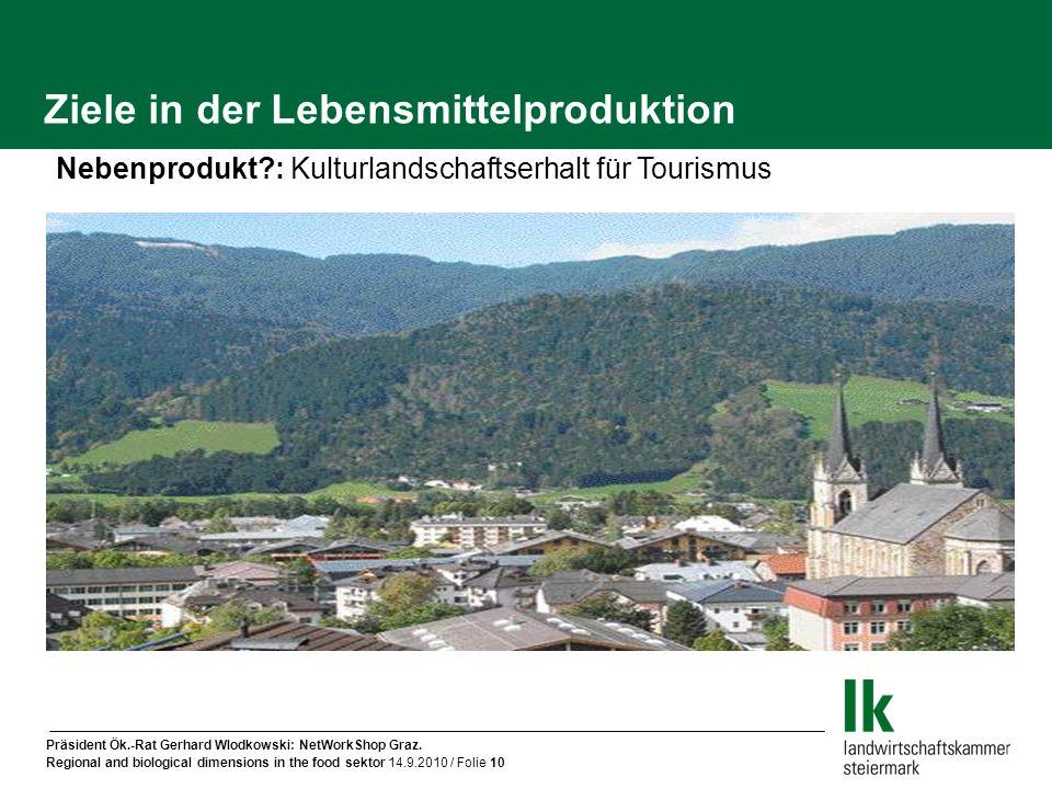 Präsident Ök.-Rat Gerhard Wlodkowski: NetWorkShop Graz. Regional and biological dimensions in the food sektor 14.9.2010 / Folie 10 Ziele in der Lebens