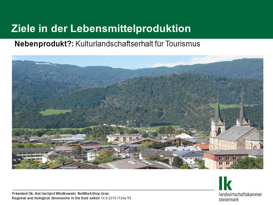 Präsident Ök.-Rat Gerhard Wlodkowski: NetWorkShop Graz. Regional and biological dimensions in the food sektor 14.9.2010 / Folie 11 Ziele in der Lebens