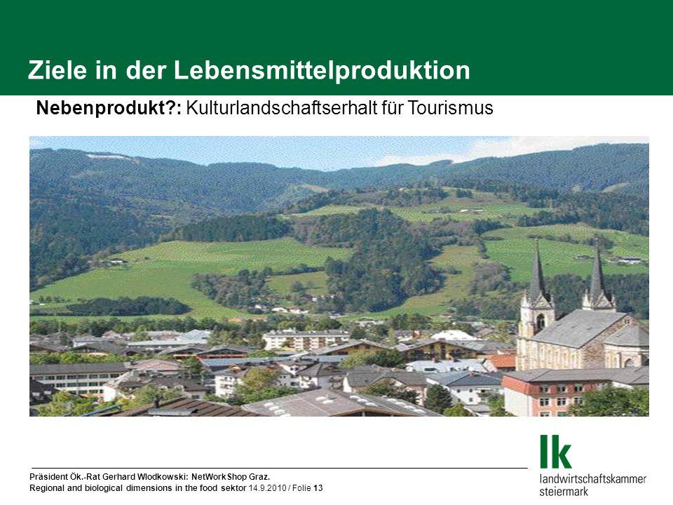 Präsident Ök.-Rat Gerhard Wlodkowski: NetWorkShop Graz. Regional and biological dimensions in the food sektor 14.9.2010 / Folie 13 Ziele in der Lebens