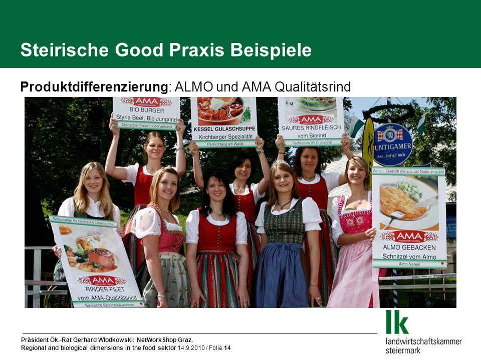 Präsident Ök.-Rat Gerhard Wlodkowski: NetWorkShop Graz. Regional and biological dimensions in the food sektor 14.9.2010 / Folie 14 Steirische Good Pra
