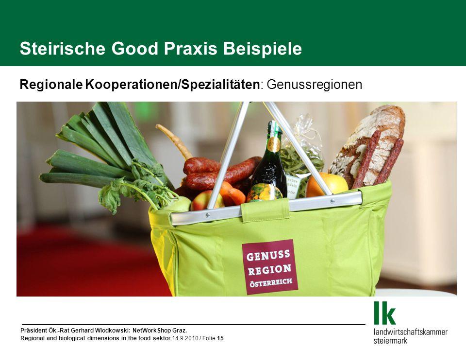 Präsident Ök.-Rat Gerhard Wlodkowski: NetWorkShop Graz. Regional and biological dimensions in the food sektor 14.9.2010 / Folie 15 Regionale Kooperati