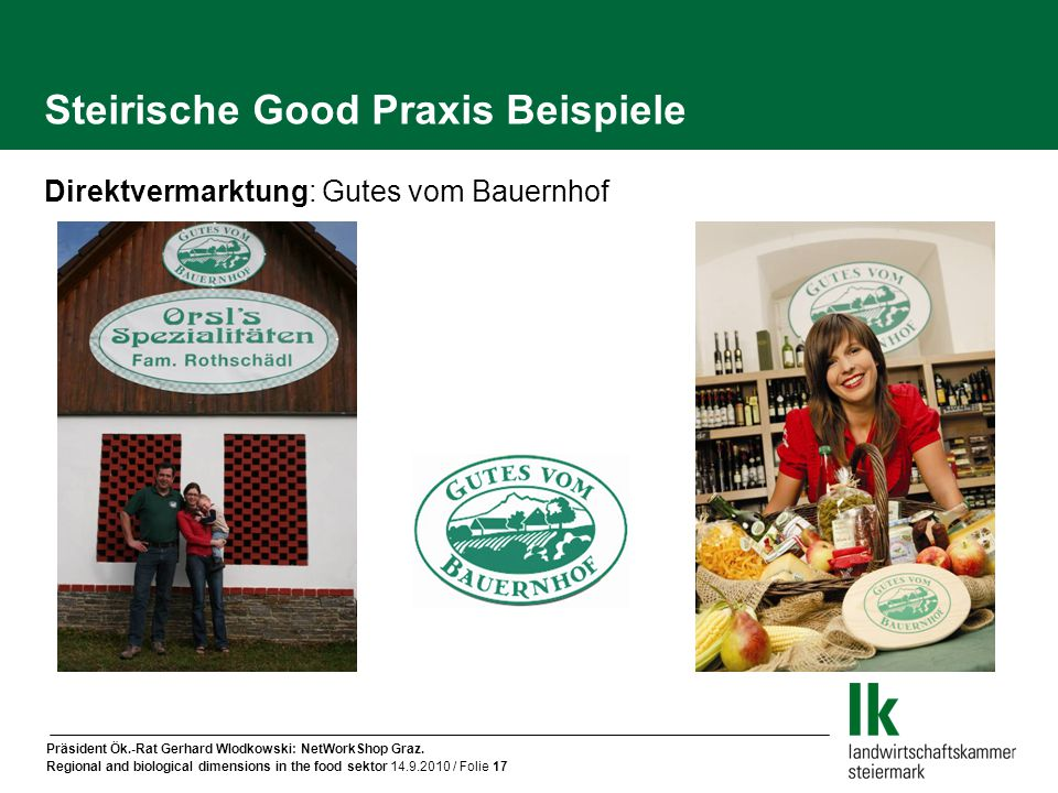 Präsident Ök.-Rat Gerhard Wlodkowski: NetWorkShop Graz. Regional and biological dimensions in the food sektor 14.9.2010 / Folie 17 Direktvermarktung: