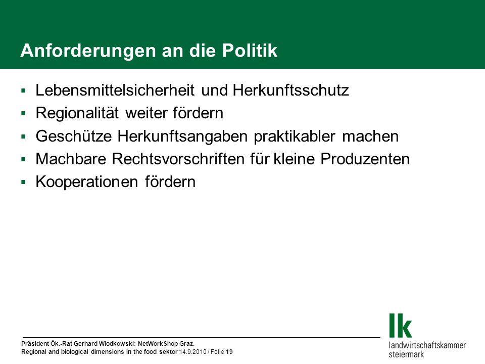 Präsident Ök.-Rat Gerhard Wlodkowski: NetWorkShop Graz. Regional and biological dimensions in the food sektor 14.9.2010 / Folie 19 Anforderungen an di