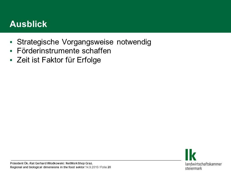 Präsident Ök.-Rat Gerhard Wlodkowski: NetWorkShop Graz. Regional and biological dimensions in the food sektor 14.9.2010 / Folie 20 Ausblick  Strategi