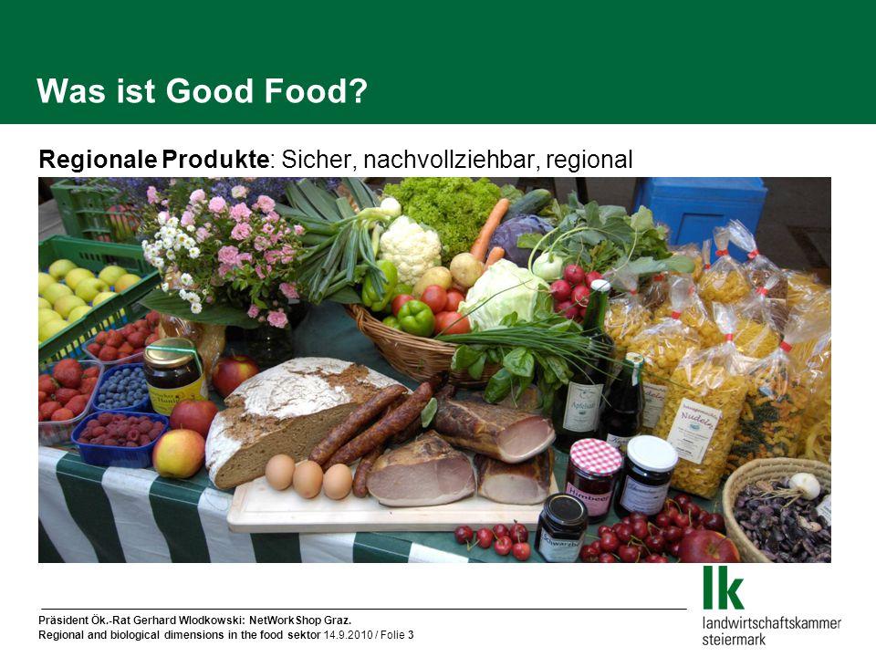 Präsident Ök.-Rat Gerhard Wlodkowski: NetWorkShop Graz. Regional and biological dimensions in the food sektor 14.9.2010 / Folie 3 Was ist Good Food? R