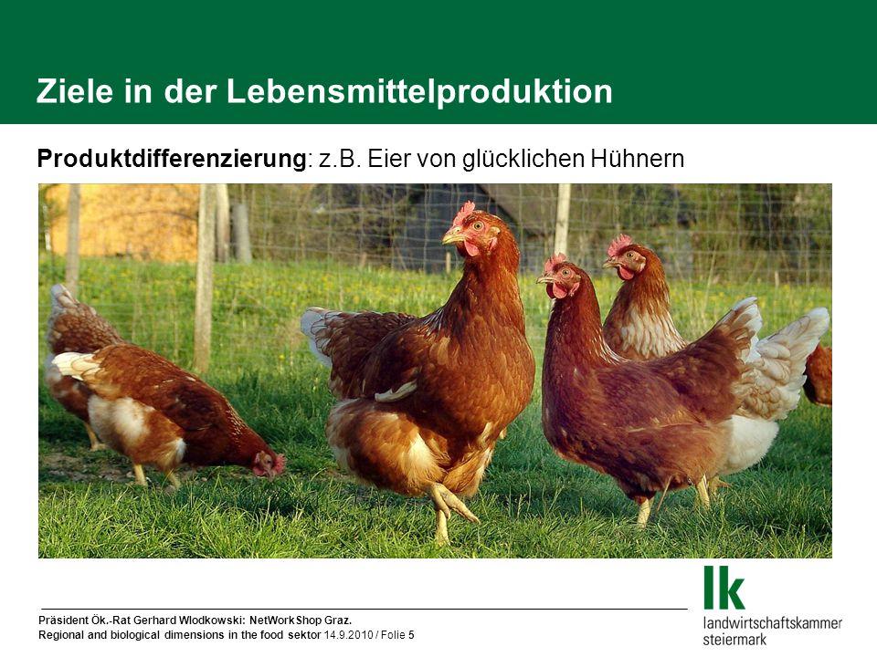 Präsident Ök.-Rat Gerhard Wlodkowski: NetWorkShop Graz. Regional and biological dimensions in the food sektor 14.9.2010 / Folie 5 Ziele in der Lebensm