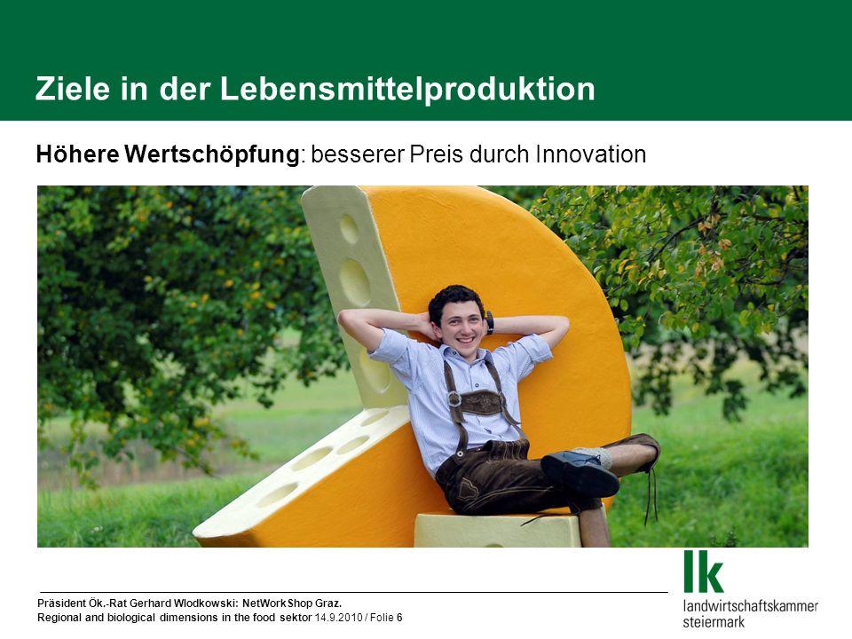Präsident Ök.-Rat Gerhard Wlodkowski: NetWorkShop Graz. Regional and biological dimensions in the food sektor 14.9.2010 / Folie 6 Ziele in der Lebensm