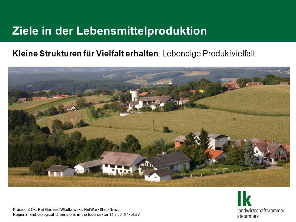 Präsident Ök.-Rat Gerhard Wlodkowski: NetWorkShop Graz. Regional and biological dimensions in the food sektor 14.9.2010 / Folie 7 Ziele in der Lebensm