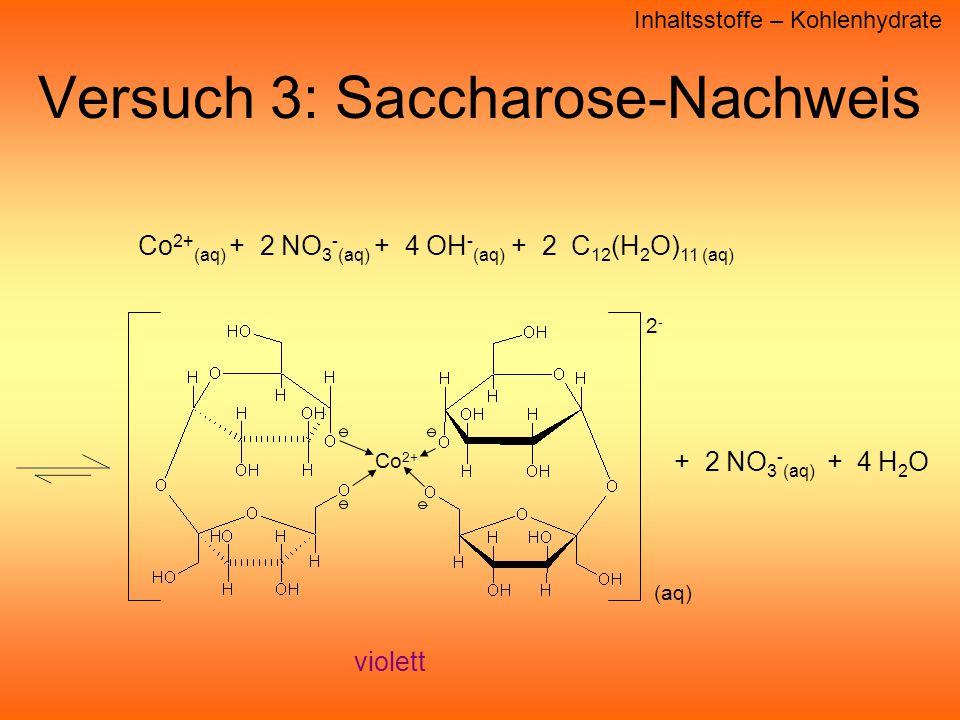 Versuch 3: Saccharose-Nachweis Inhaltsstoffe – Kohlenhydrate Co 2+ (aq) + 2 NO 3 - (aq) + 4 OH - (aq) + 2 C 12 (H 2 O) 11 (aq) violett + 2 NO 3 - (aq) + 4 H 2 O Co 2+ (aq) 2-2-