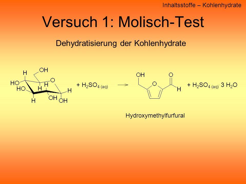 Versuch 1: Molisch-Test Inhaltsstoffe – Kohlenhydrate + H 2 SO 4 (aq).
