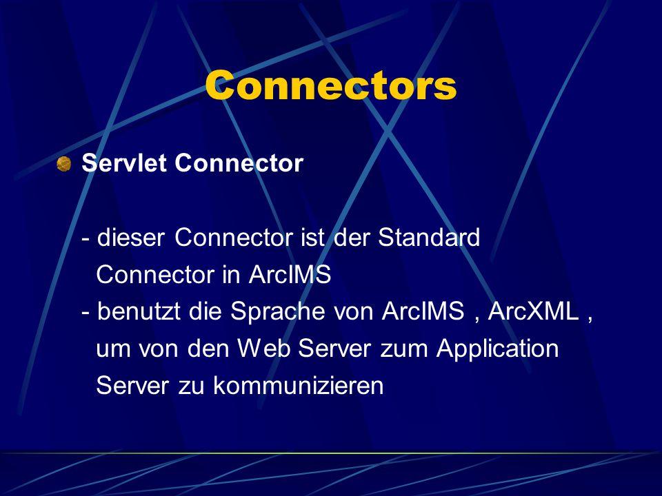 Connectors Cold Fusion Connector \ Active X Connector - diese Connectors arbeiten mit Custom Clients und übersetzen ihre eigene Sprache in ArcXML