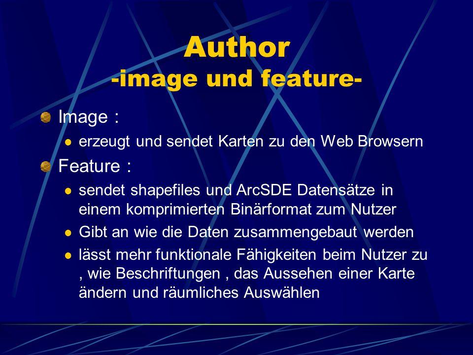 Author –was ist das?- Prozess der Herstellung einer Karte wird veröffentlicht als image oder feature zur Registrierung wird Arc IMS Administrator benö