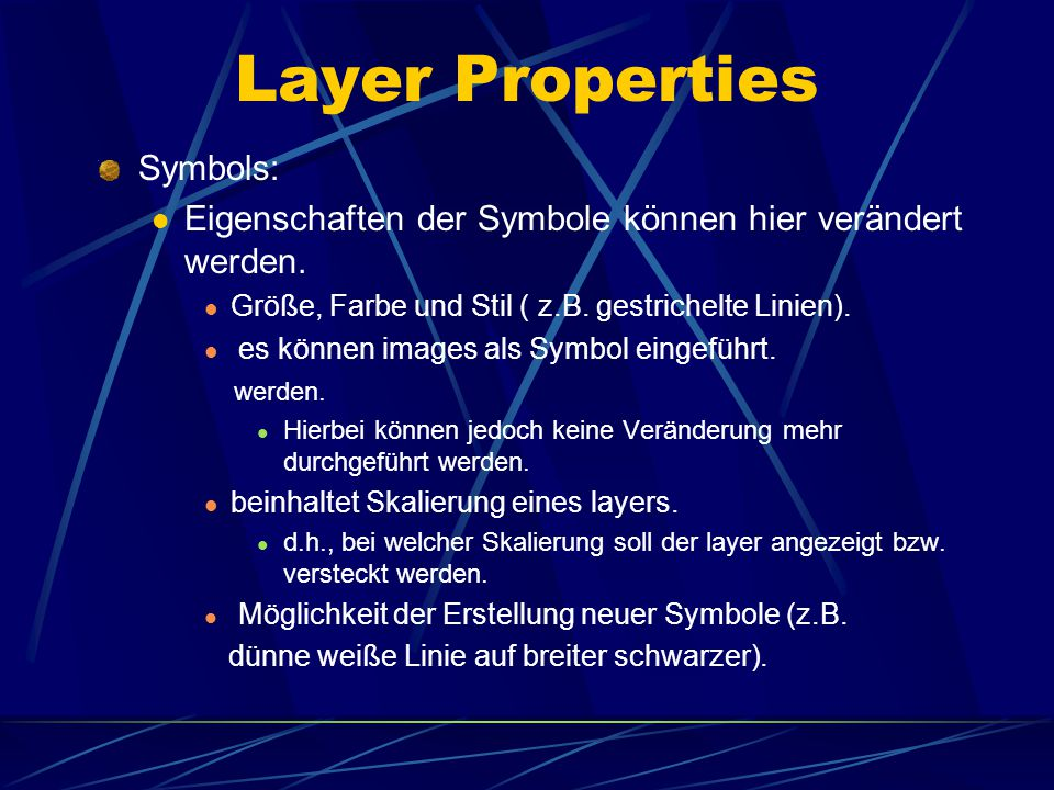 "Layer Properties darunter verbergen sich 3 tabs in der ""layer properties dialog box Symbols Labels General"
