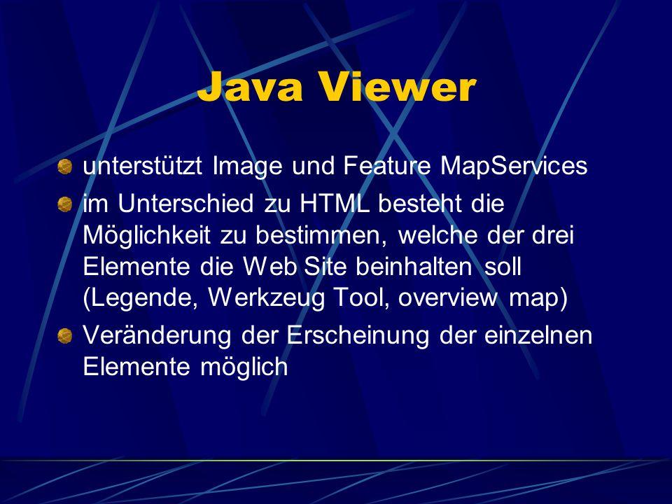 HTML Viewer unterstützt nur images Web Seiten – Maske voreingestellt D.h. im Unterschied zu Java Viewers beinhaltet der HTML Viewer automatisch einges