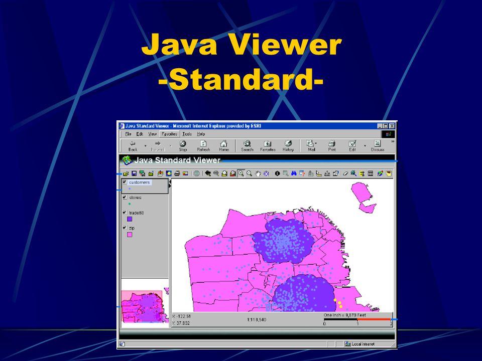 Java Viewer Custom graphische Gestaltung mehr Kontrolle durch nicht voreingestellte Web Site (z.B. Design) und GIS Funktionalität nicht alle browser u