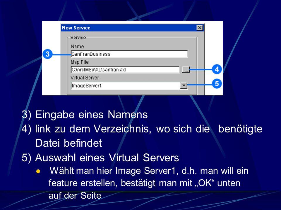 """Erstellen eines neuen Service 1) Möglichkeit der Erstellung eines image, feature oder metadata services 2) Bestätigung mit """"New Service Button"""