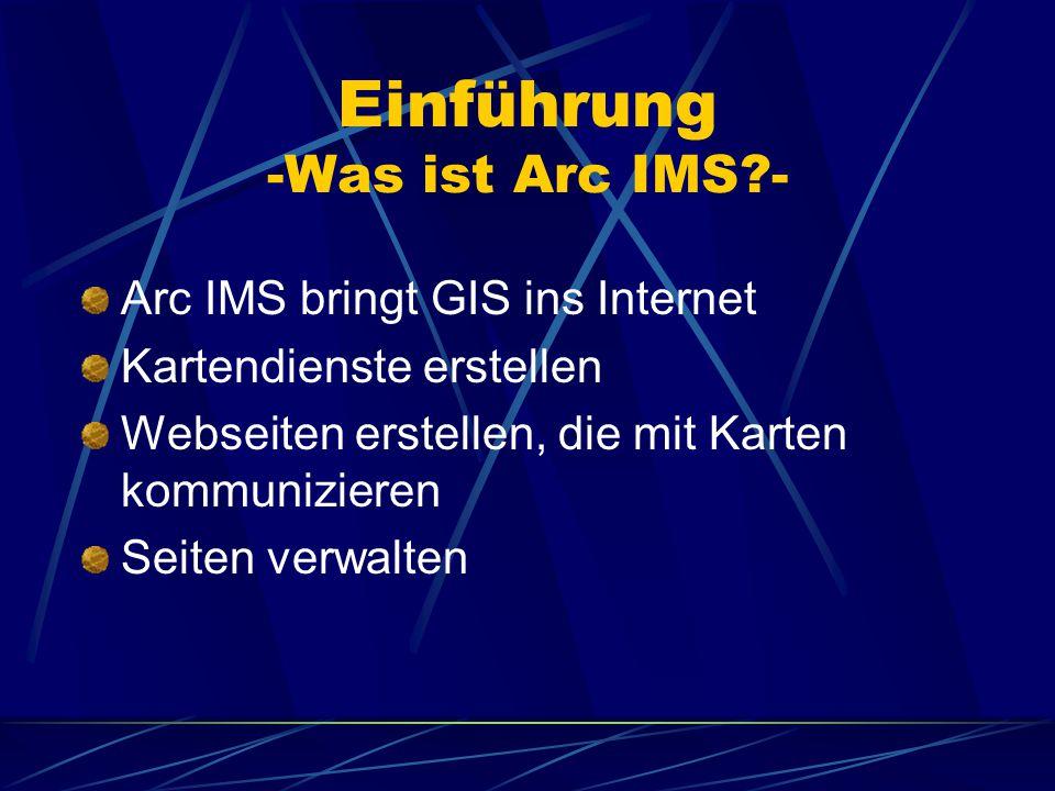 Einführung -Was ist Arc IMS?- Arc IMS bringt GIS ins Internet Kartendienste erstellen Webseiten erstellen, die mit Karten kommunizieren Seiten verwalten