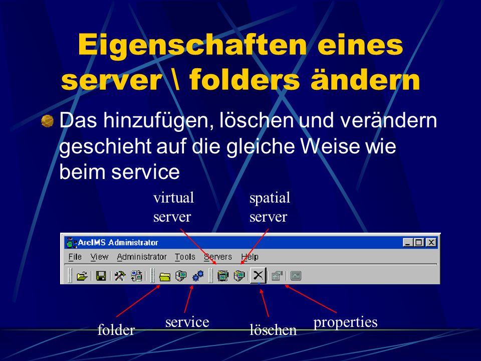 """Eigenschaften eines service ändern dazu wählt man erneut """"service und den entsprechenden service Namen anschließend klickt man den """"properties – button und es erscheint das gleiche Fenster wie bei der Erstellung des services und verfährt ähnlich"""