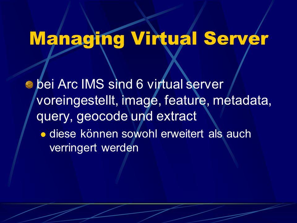Eigenschaften eines server \ folders ändern Das hinzufügen, löschen und verändern geschieht auf die gleiche Weise wie beim service folder spatial server service löschen virtual server properties