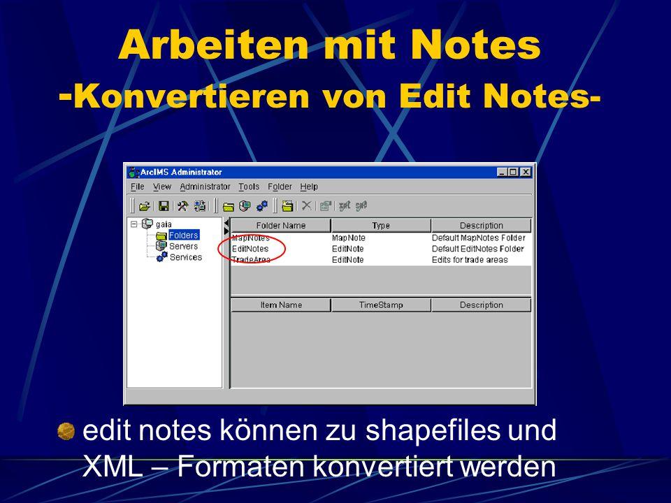 Arbeiten mit Notes -Edit Notes- Edit Notes ermöglichen das Austauschen von Daten d.h. Benutzer im Internet kann direkt Kritik an den Administrator sen