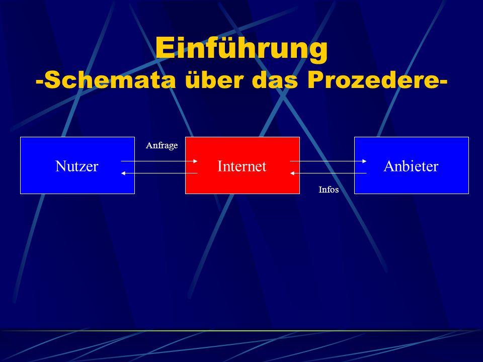 Einführung -Schemata über das Prozedere- Nutzer fordert über das Internet Informationen an Bearbeitung der Anfrage und Antwort durch Anbieter Nutzer e