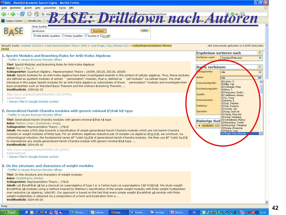 Digitales Informationsmanagement 22.02.2007Höppner, Workshop CampusContent, Hagen42 BASE: Drilldown nach Autoren