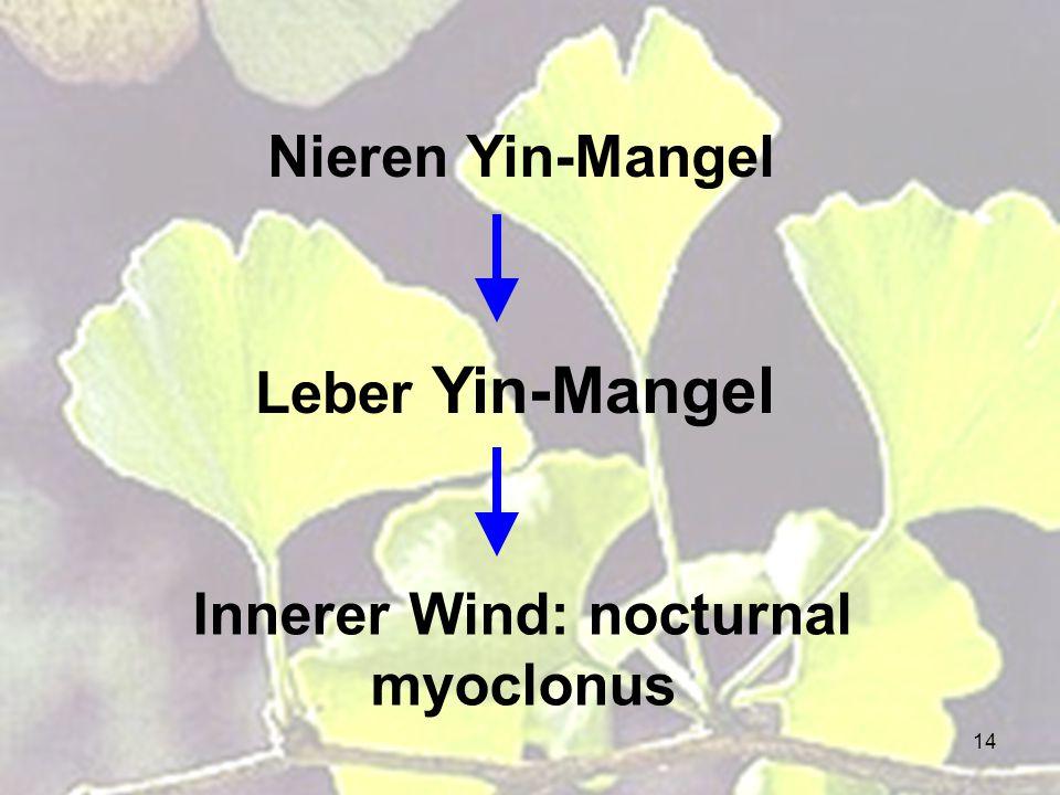 14 Leber Yin-Mangel Innerer Wind: nocturnal myoclonus Nieren Yin-Mangel
