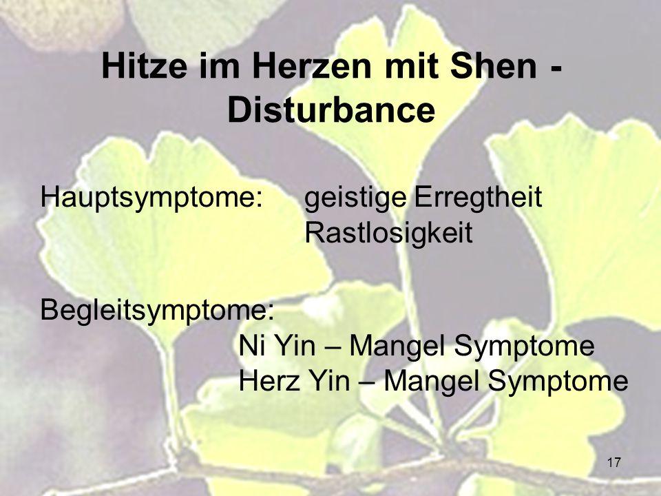 17 Hitze im Herzen mit Shen - Disturbance Hauptsymptome: geistige Erregtheit Rastlosigkeit Begleitsymptome: Ni Yin – Mangel Symptome Herz Yin – Mangel