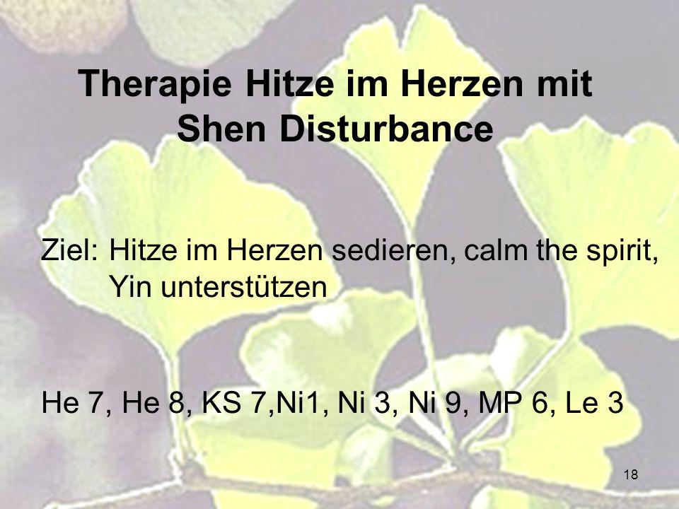 18 Therapie Hitze im Herzen mit Shen Disturbance Ziel:Hitze im Herzen sedieren, calm the spirit, Yin unterstützen He 7, He 8, KS 7,Ni1, Ni 3, Ni 9, MP