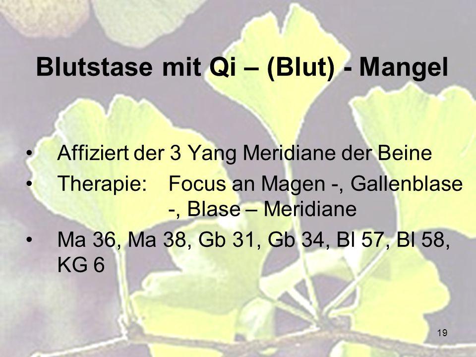 19 Blutstase mit Qi – (Blut) - Mangel Affiziert der 3 Yang Meridiane der Beine Therapie:Focus an Magen -, Gallenblase -, Blase – Meridiane Ma 36, Ma 3