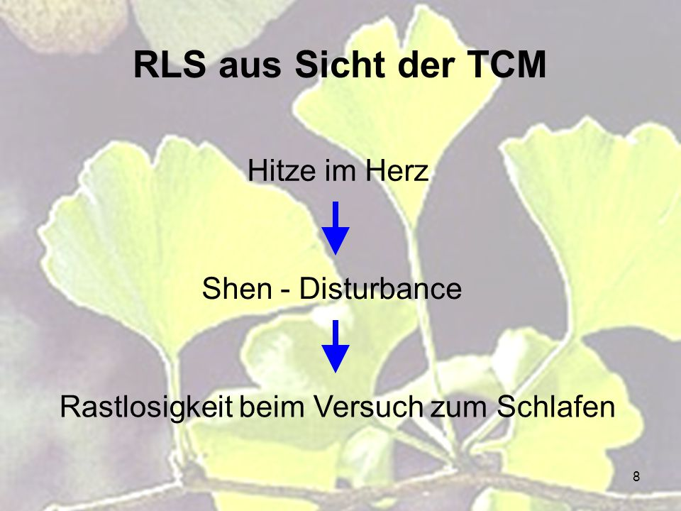 8 RLS aus Sicht der TCM Hitze im Herz Shen - Disturbance Rastlosigkeit beim Versuch zum Schlafen
