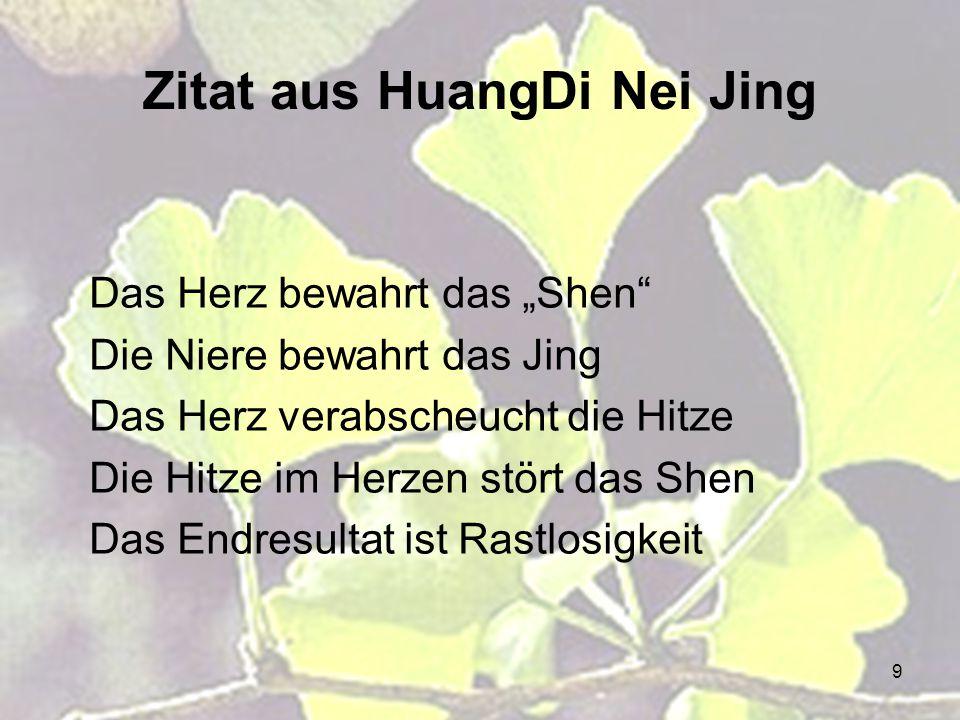 """9 Zitat aus HuangDi Nei Jing Das Herz bewahrt das """"Shen"""" Die Niere bewahrt das Jing Das Herz verabscheucht die Hitze Die Hitze im Herzen stört das She"""