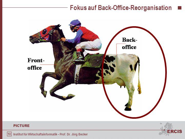 10 PICTURE Institut für Wirtschaftsinformatik – Prof. Dr. Jörg Becker Fokus auf Back-Office-Reorganisation