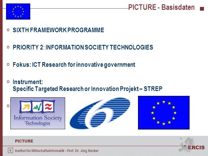 6 PICTURE Institut für Wirtschaftsinformatik – Prof. Dr. Jörg Becker PICTURE - Basisdaten SIXTH FRAMEWORK PROGRAMME PRIORITY 2 : INFORMATION SOCIETY T