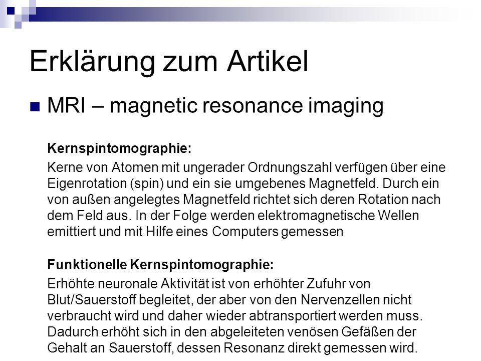 Erklärung zum Artikel MRI – magnetic resonance imaging Kernspintomographie: Kerne von Atomen mit ungerader Ordnungszahl verfügen über eine Eigenrotati