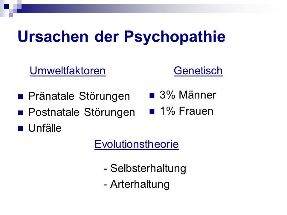Ursachen der Psychopathie Umweltfaktoren Pränatale Störungen Postnatale Störungen Unfälle Evolutionstheorie - Selbsterhaltung - Arterhaltung Genetisch